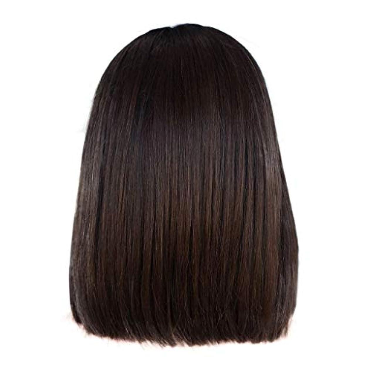 模倣行うトリムかつら女性の短いストレートヘアブラウンの化学繊維のフロントレースかつら14インチ