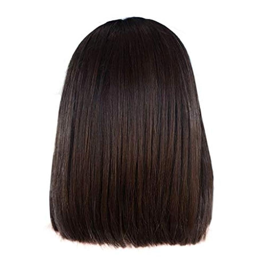 かつら女性の短いストレートヘアブラウンの化学繊維のフロントレースかつら14インチ