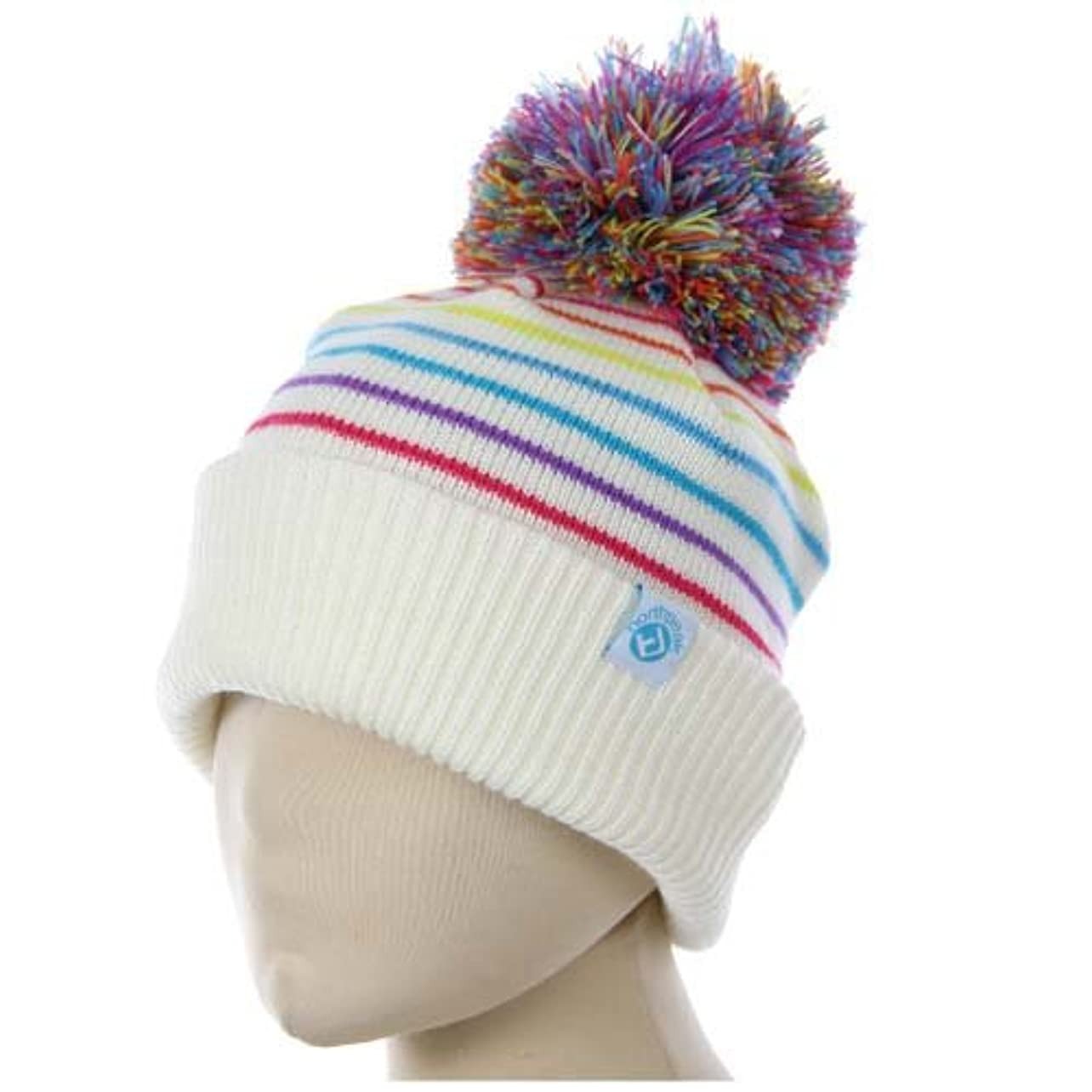 浮浪者略す嵐のnorth peak(ノースピーク) ビーニー ニット帽 ボンボン付き キッズ ジュニア NP-9356 WT フリーサイズ