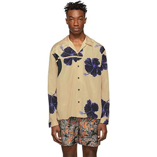3.1 Phillip Lim (スリーワン フィリップ リム) メンズ トップス シャツ Beige & Blue Hibiscus Floral Souvenir Shirt サイズXS [並行輸入品]