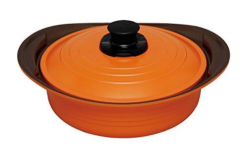 アイリスオーヤマ 両手鍋 無加水鍋 26cm 浅型 オレンジ MKS-P26S