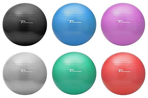 Timberbrother ヨガボール バランスボール エクササイズボール 直径45/55/65/75/85cm 6色 フットポンプ付き