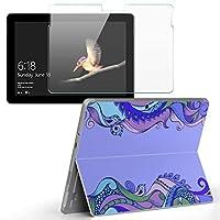 Surface go 専用スキンシール ガラスフィルム セット サーフェス go カバー ケース フィルム ステッカー アクセサリー 保護 エスニック 波 012765