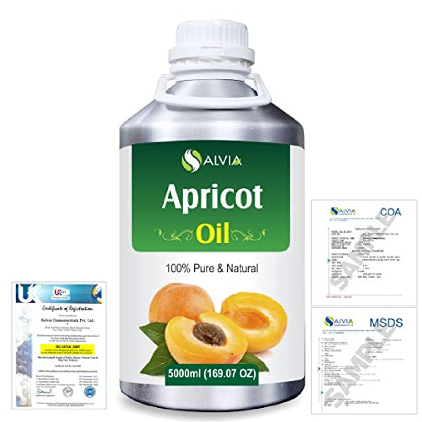ここに記者頼るApricot (Prunus armeniaca) Natural Pure Undiluted Uncut Carrier Oil 5000ml/169 fl.oz.