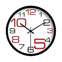 現代的なミニマルクリエイティブクォーツ時計芸術の個性寝室超静かな壁時計 (Color : Black border, Size : 14 inches)