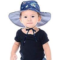 Baby Hat Toddler Summer Bucket Hat Kid Wide Brim Sun Protection Hat Children Beach Swimwear Bucket Cap with Chin Strap, Dolphin Pattern