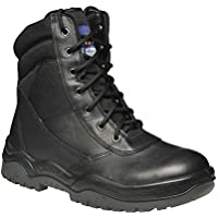 Mongrel 251020 Work Boots. Steel Toe Safety. Black Hi-Leg Zip Sider.