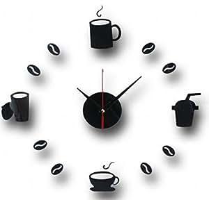 カフェ タイムの気分 コーヒー 壁掛け 時計 (黒)