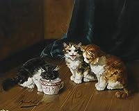 手描き-キャンバスの油絵 - Alfred Brunel de Neuville kittens on floor 動物 芸術 作品 洋画 -サイズ08