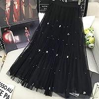 HJJUANAU Beaded Mesh Skirt Pleated Pettiskirt, Size: One Size(Black) (Color : Black, Size : One Size)