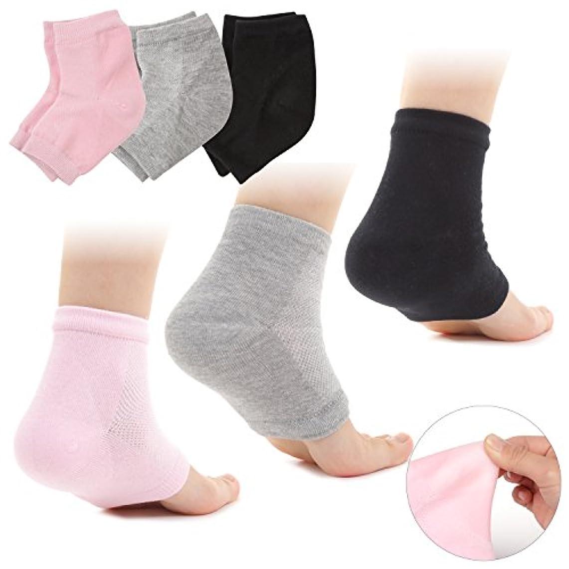 スチールタイプライターご覧くださいMuiles かかと 靴下 ソックス 角質取り 保湿 ひび割れ かかとケア レディース メンズ 男女兼用 【1足~3足セット】 (3足セット ピンク、グレー、ブラック)