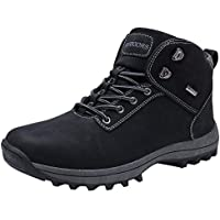 Caitin Men's Hiking Work Boots Leather Winter Outdoor Snow Shoes