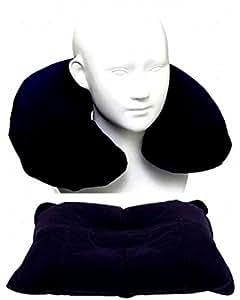 ネオシード 肌さわりのよい植毛加工 空気枕 (首用&腰用) ネックピロー 2個 セット 紺
