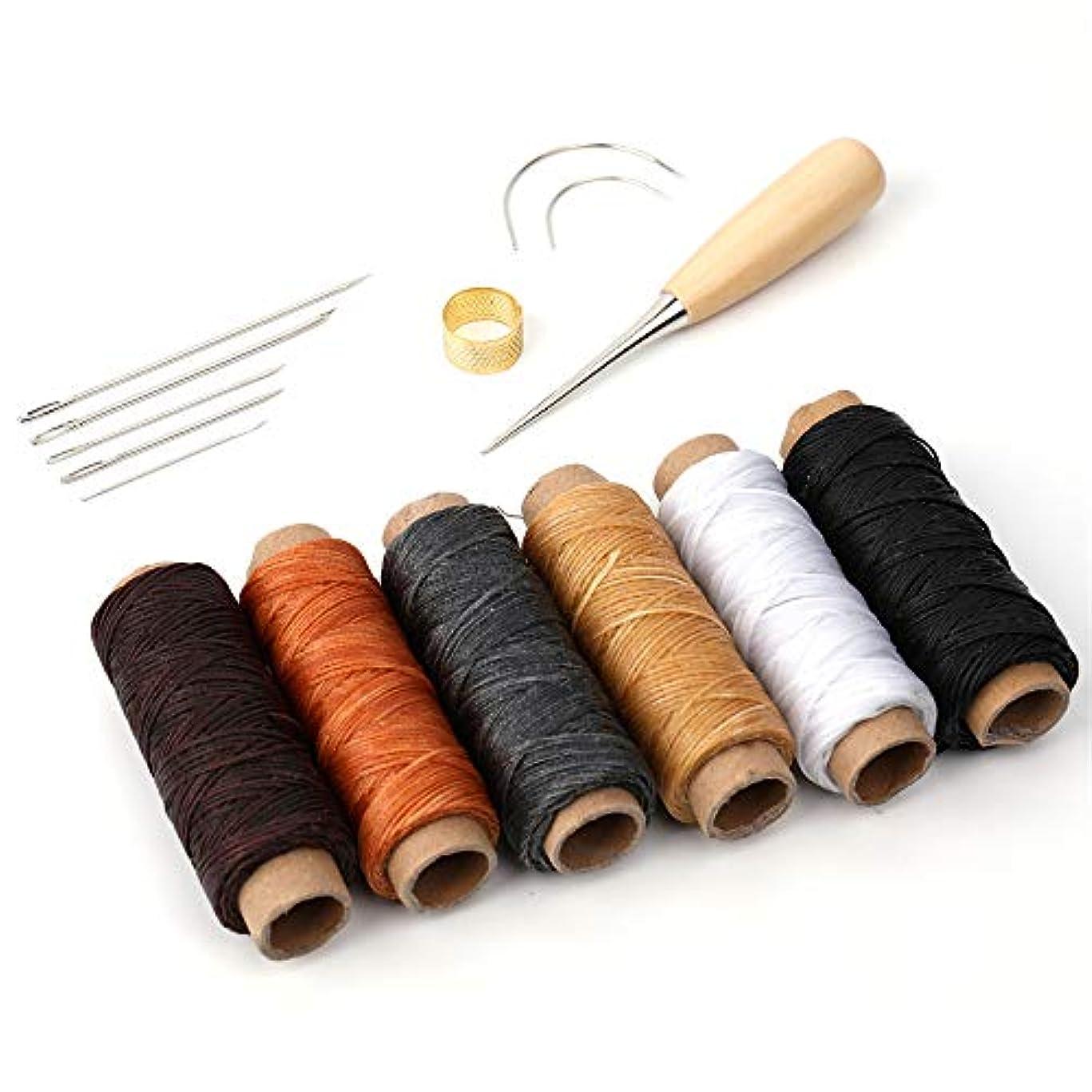 楕円形オーバーコート甘いwinkong レザークラフト 縫い道具セット 50m 15点 セット 革用 裁縫 0.8mm 幅 レザー 糸 紐 ロウ引き DIY 針