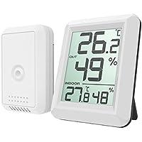AMIR デジタル温湿度計 室内 室外 温度計 湿度計 高精度 LCD大液晶画面 無線タイプ 外気温を計れる 壁掛け&卓上スタンド兼用 華氏温度表示と摂氏温度表示切り替えられる 健康管理 熱中症予防 日本語説明書付属