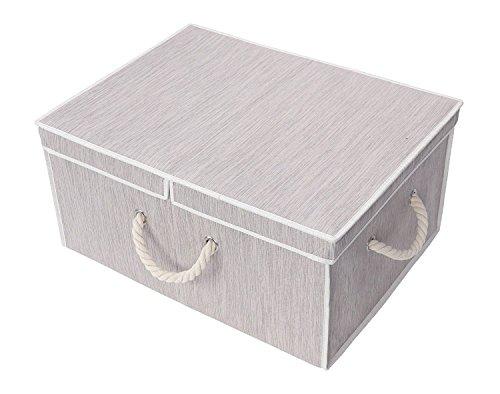 StorageWorks 不織布収納ボックス フタ付き 折りたたみ収納ケース 大容量 幅57×奥行43×高さ26.5cm 洋服収納 ライトグレー お部屋の片付けにも便利