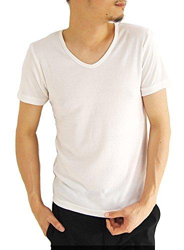 (アーケード) ARCADE メンズ 無地Tシャツ カジュアル 半袖 Vネック フライス フィットデザイン Tシャツ LL ホワイト