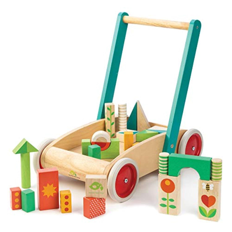 tender leaf toys 木製 積み木付き手押し車 かわいいイギリスデザインのベビーウォーカー 積み木 おもちゃ つかまり立ち 赤ちゃん 男の子 女の子 知育玩具