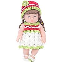 KIDDING 30cmハンドメイドセーター シミュレーション赤ちゃん 入浴人形 ソフトベビー 幼児教育 劇場 子供たち プリンセス 若い女の子 おもちゃ人形 (緑のスカートのセーターストレートヘア少女の人形)