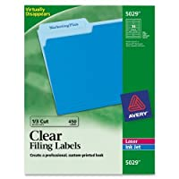 Avery 5029 Clear Self-Adhesive Filing Labels 3-7/16 x 2/3 15 sheets 450 Labels [並行輸入品]