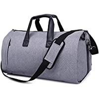 Niome 2 in 1 Convertible Garment Duffle Bag with Shoulder Strap,Foldable Carry On Suit Bag with Shoes Compartment for Men Women,(Grey)