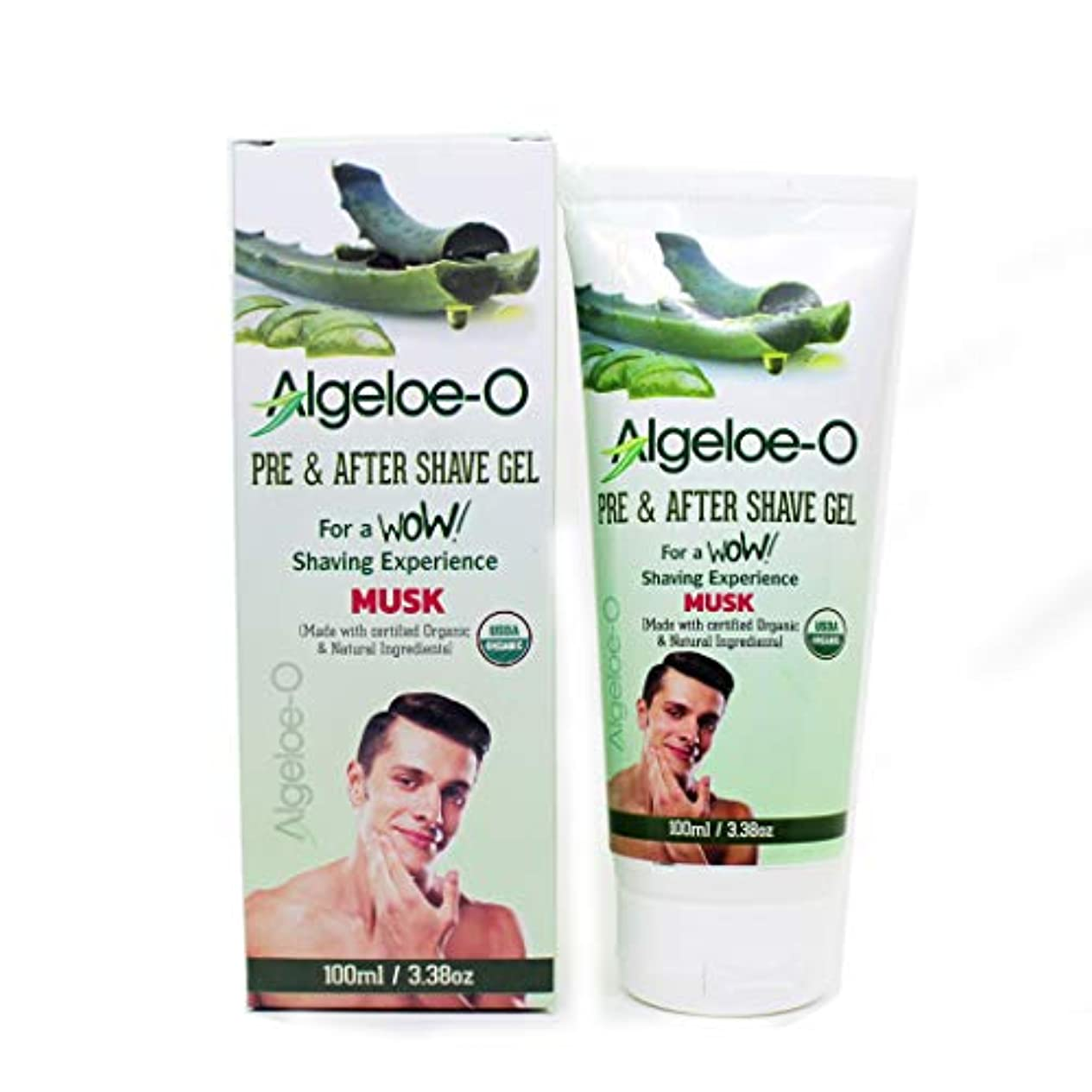賛辞退屈させるふつうAloevera Pre And After Shave Gel - Algeloe O Made With Certified USDA Organic And Natural Ingredients - Musk 100 ml (3.38 Oz.)