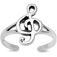 Music Note Toe Ring Fashion Beach Adjustable Fine Jewelry Sterling Silver 925
