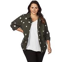 Beme Long Sleeve Star Khaki Jacket - Womens Plus Size Curvy