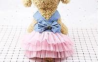 SHELLMIMI 犬のかわいいドレス犬のボウのレーススカートペット犬の夏の服 (M, ピンクのデニム)