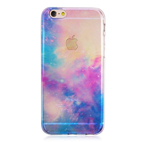 iPhone6/6s 宇宙柄 ライトブルー 流行のかっこいい宇宙柄 iPhoneのデザインが映えるクリアソフトケース