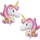 OneHorse 2体セット ユニコーン バルーン 風船 顔 おもちゃ ゆめかわいい パーティー 装飾 飾り付け ピンク