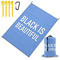 ブラックビューティフル2 レジャー旅行シートピクニックマット防水145×200センチ折りたたみキャンプマット毛布オーニングテントライトと収納が簡単ポータブル巾着