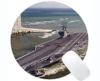 ステッチエッジ付きラウンドマウスパッド、航空母艦USS Ronald Reagan Warshipノンスリップラバーマウスマット