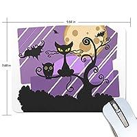 マウスパッド ハロウィーン 夜 黒い猫 光学式マウス対応 防水 滑り止め生地 ゴム製裏面 軽量 耐久性 携帯便利 ノートパソコン用 オフィス用 快適 プレゼント
