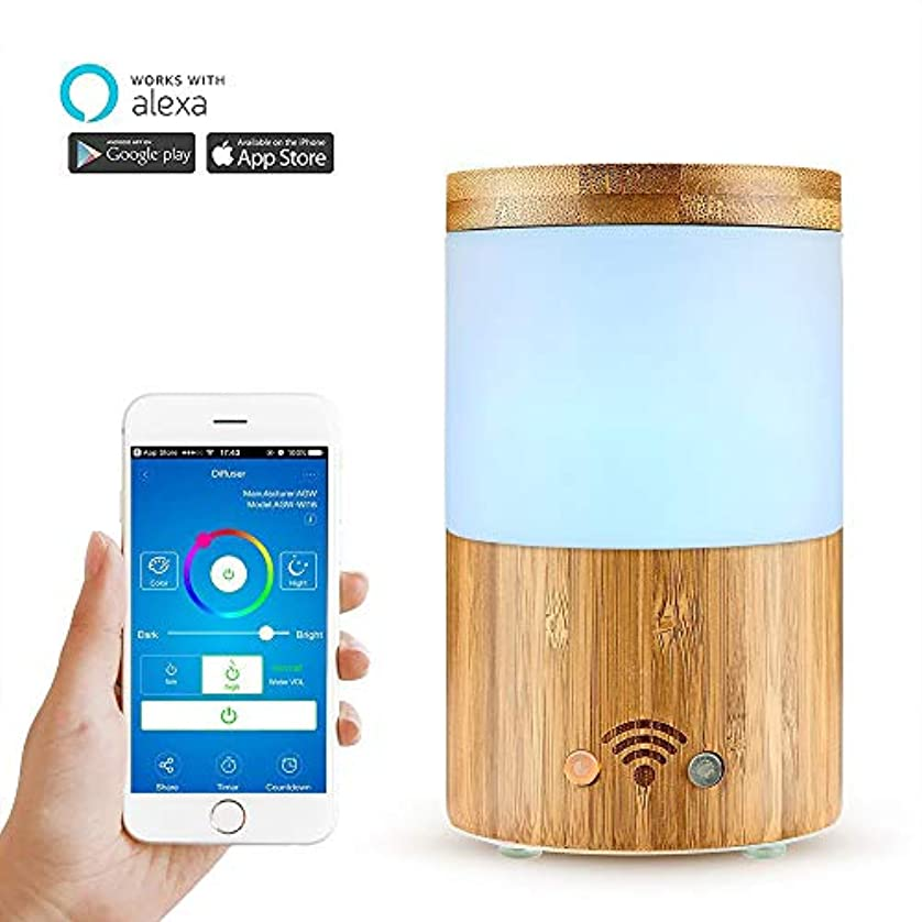 きらきら協力学校Wifiワイヤレスアロマエッセンシャルオイルディフューザー、電話アプリ、音声コントロール-スケジュールの作成-160mlディフューザーと加湿器-LEDとタイマーの設定