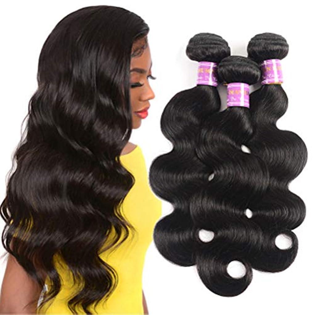 持つ広範囲に空港毛織りブラジル実体波バージンヘア1バンドルで閉鎖無料部分100%未処理の人間の髪の毛のremy髪