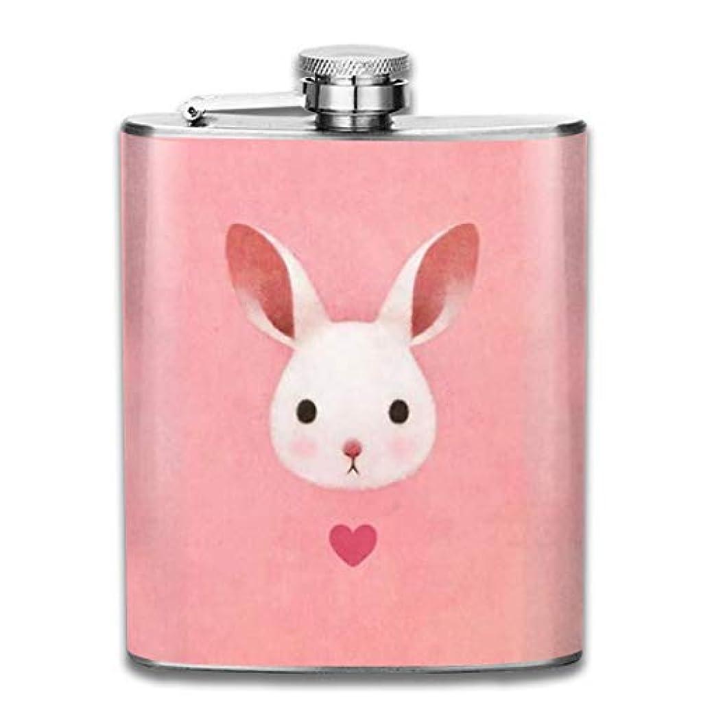 急性のため黄ばむピンクのうさぎフラスコ スキットル ヒップフラスコ 7オンス 206ml 高品質ステンレス製 ウイスキー アルコール 清酒 携帯 ボトル