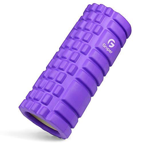 フォームローラー 筋膜リリース KOOLSEN グリッドフォームローラー ヨガポール トレーニング スポーツ フィットネス ストレッチ器具 (パープル)