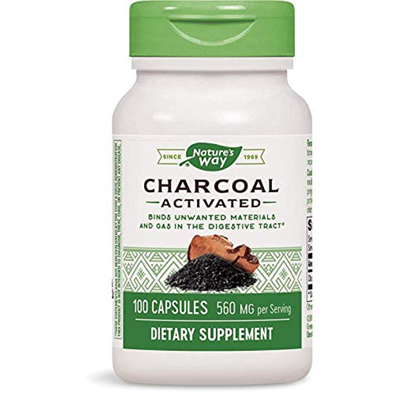 一次クレタ天国海外直送品Nature's Way Charcoal, Activated, 100 Caps 260 MG(Pack of 3)
