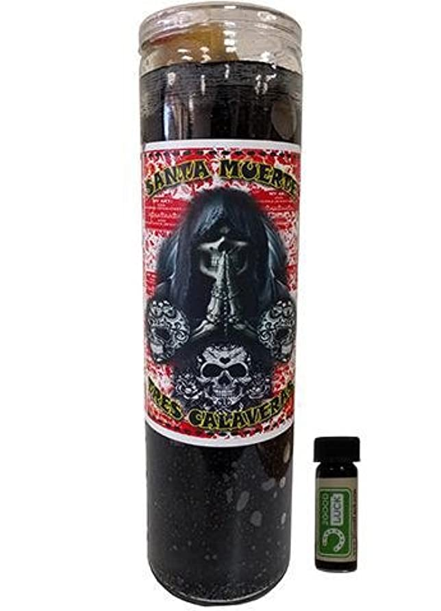 面倒香りシフトHoly Death 3 Skulls Dressed Scented Candle – Veladora Preparada Santa Muerte 3 Calaveras