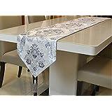 テーブルランナー 北欧 モダン 刺繍 タッセル付き 33x180cm (シルバーグレー)