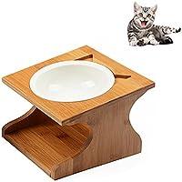 Petacc 猫 食器 スタンド 陶器 小型犬えさ皿 食台 猫用フード 水 ボウル (18.5*17.5*12cm)