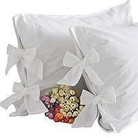 女王の家 枕カバー リボン付き ホワイト 綿100% ピローケース 35×50cm 2枚セット