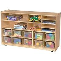 Wood Designs Kids Play Toy Book合板オーガナイザーwd1650112クリアトレイPlus棚ストレージ