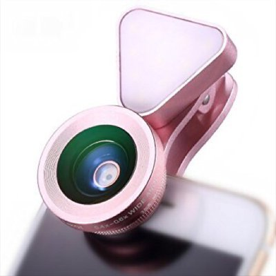 Excellence スマホ用カメラレンズ 1台3役 LEDライト クリップ式 3段階の明るさ調整 iphone7/7plus iphone8/8plus xperia 対応(ピンク)