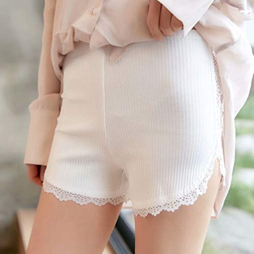 レディース ペチパンツ レースフリル 綿 透けにくい 裾フリル 可愛い見せパンツ ニット 半ズボン コットン ルームウェア ショートパンツ ボクサーパンツ ペチコート ホワイト