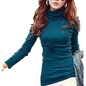 (ラルジュアルブル) largearbre タートルネック タートル トップス カットソー Tシャツ 長袖 インナー あったかい シンプル カジュアル シャツ ゆったり セクシー 大きいサイズ ロンT 大人 黒 白 ピンク グリーン タイト 細身 スタイル スリム 可愛い オシャレ キレイメ エレガント お姉 デザイン 無地 tシャツ (L, グリーン)