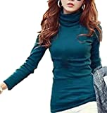 (ラルジュアルブル) largearbre タートルネック タートル トップス カットソー Tシャツ 長袖 インナー あったかい シンプル カジュアル シャツ ゆったり セクシー 大きいサイズ ロンT 大人 黒 白 ピンク グリーン タイト 細身 スタイル スリム 可愛い オシャレ キレイメ エレガント お姉 デザイン 無地 tシャツ (M, グリーン)
