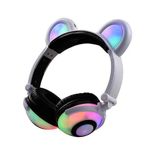 折りたたみ式ベアーイヤホン充電ヘッドフォンパンダイヤーゲームLEDライト付きヘッドセットBlinking Cosplay bearcatイヤホン呼吸ライトコスプレ (ホワイト)