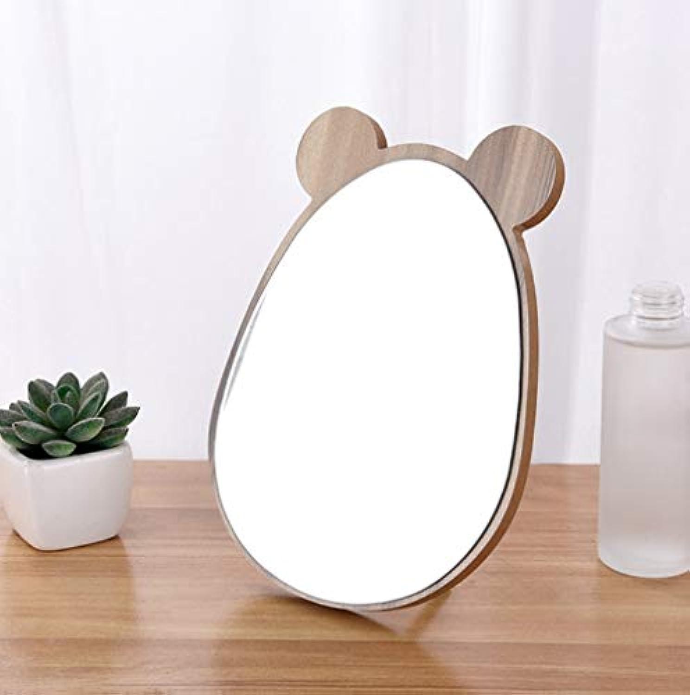囲まれたポーター発生器桜の雪 かわいい 木製 動物型 卓上 化粧鏡 スタンドミラー 鏡 インテリア飾り プレゼント (熊)